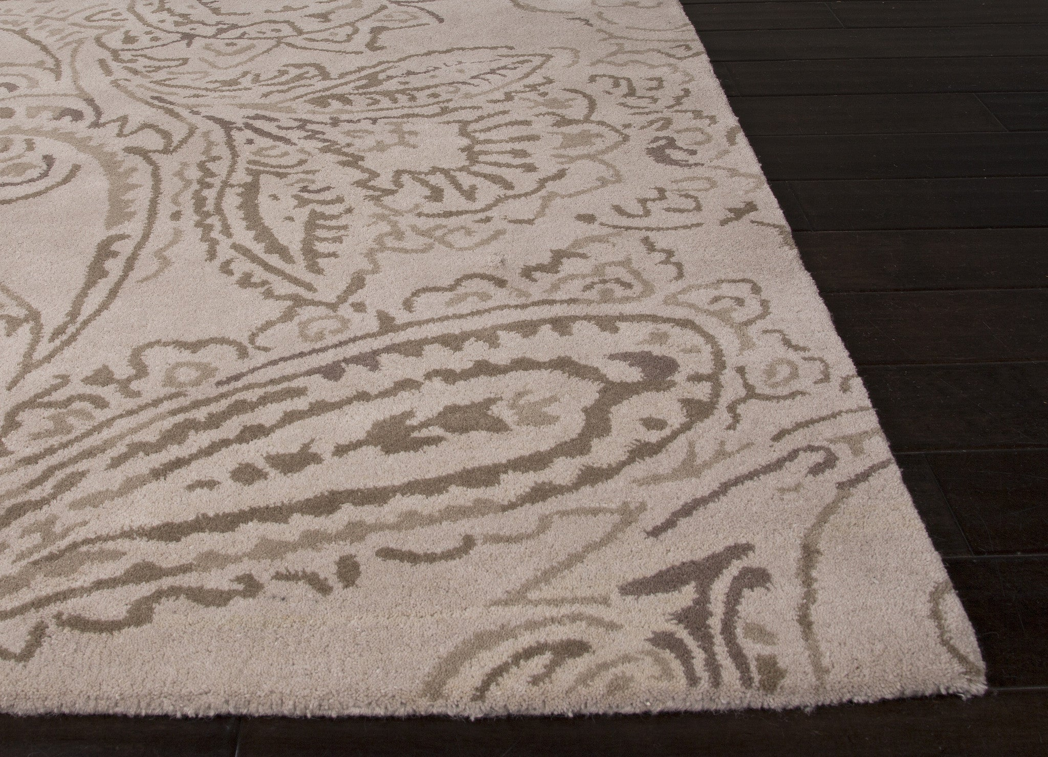 Jaipur Rugs Transitional Floral Pattern Ivory Gray Wool