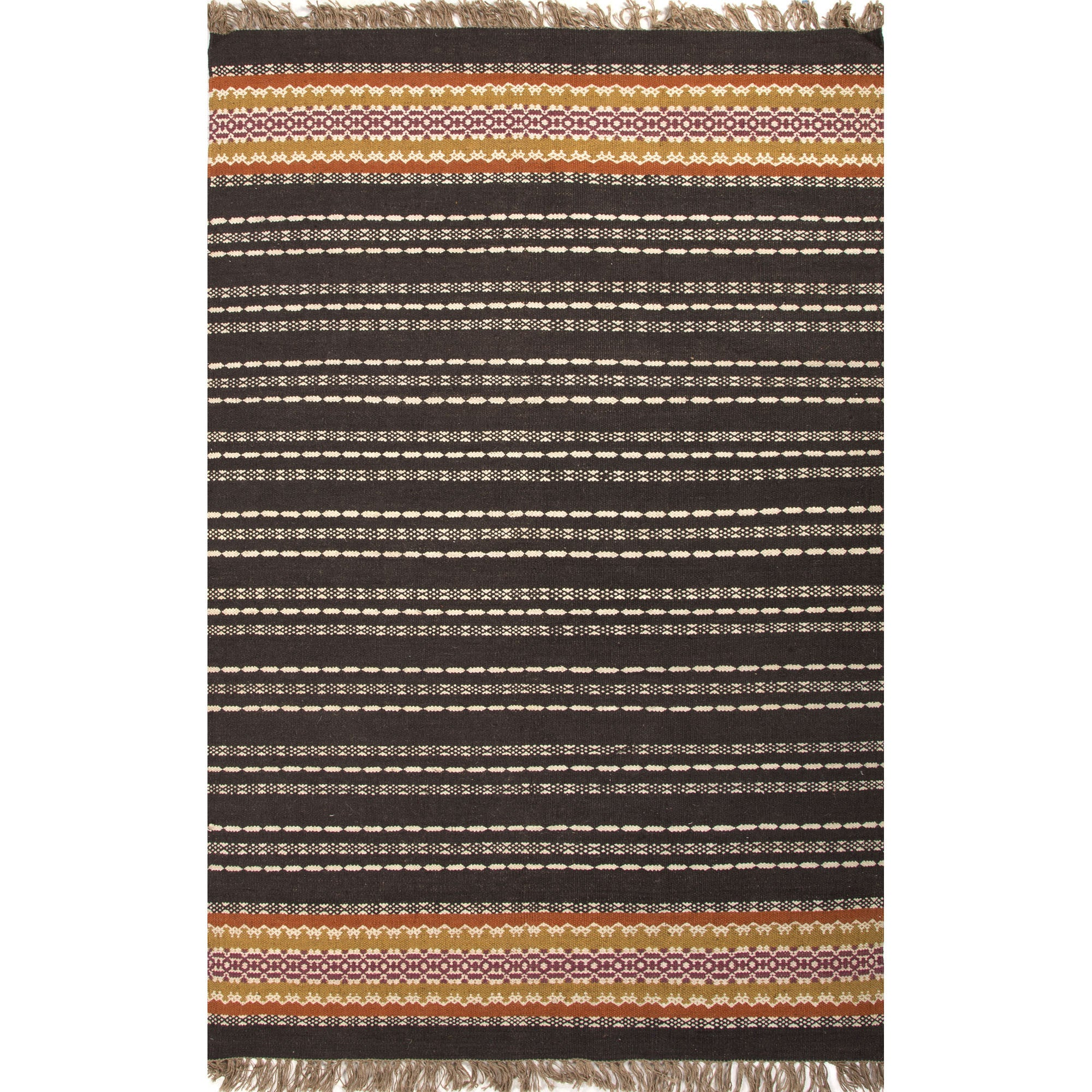 Jaipur rugs flatweave stripe pattern black red jute and for Red and white striped area rug