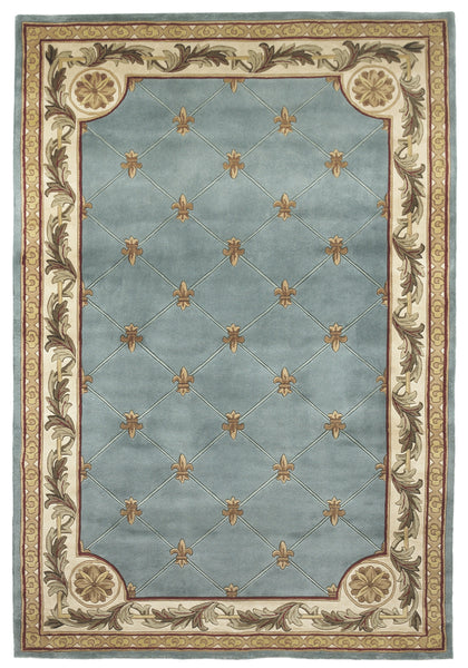 Kas Rugs Jewel 0305 Wedgewood Blue Fleu De Lis Area Rug