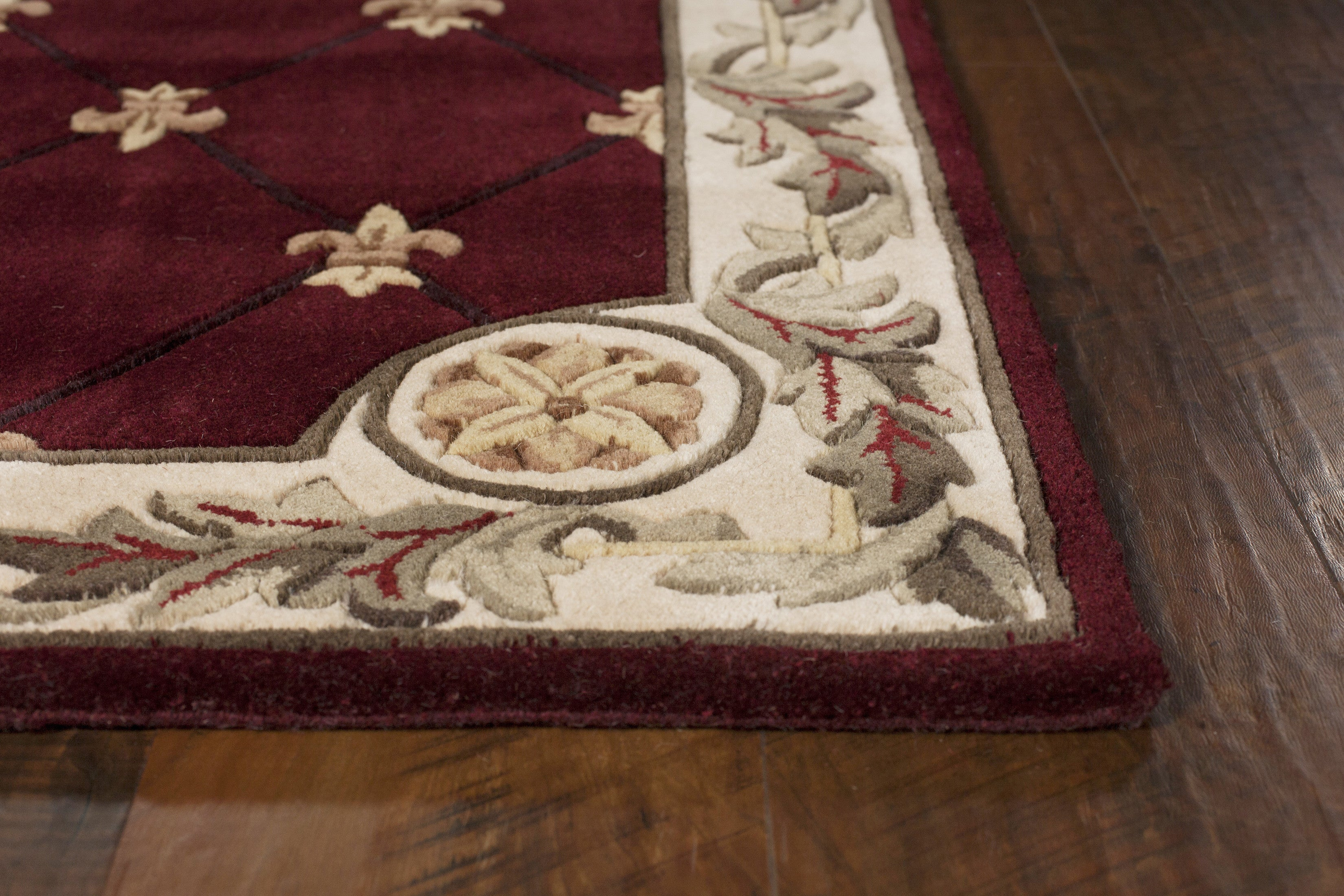 Kas Rugs Jewel 0311 Red Fleur De Lis Area Rug Rugmethod