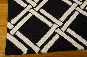 Nourison Linear Black White Area Rug LIN04 BKW (Rectangle)