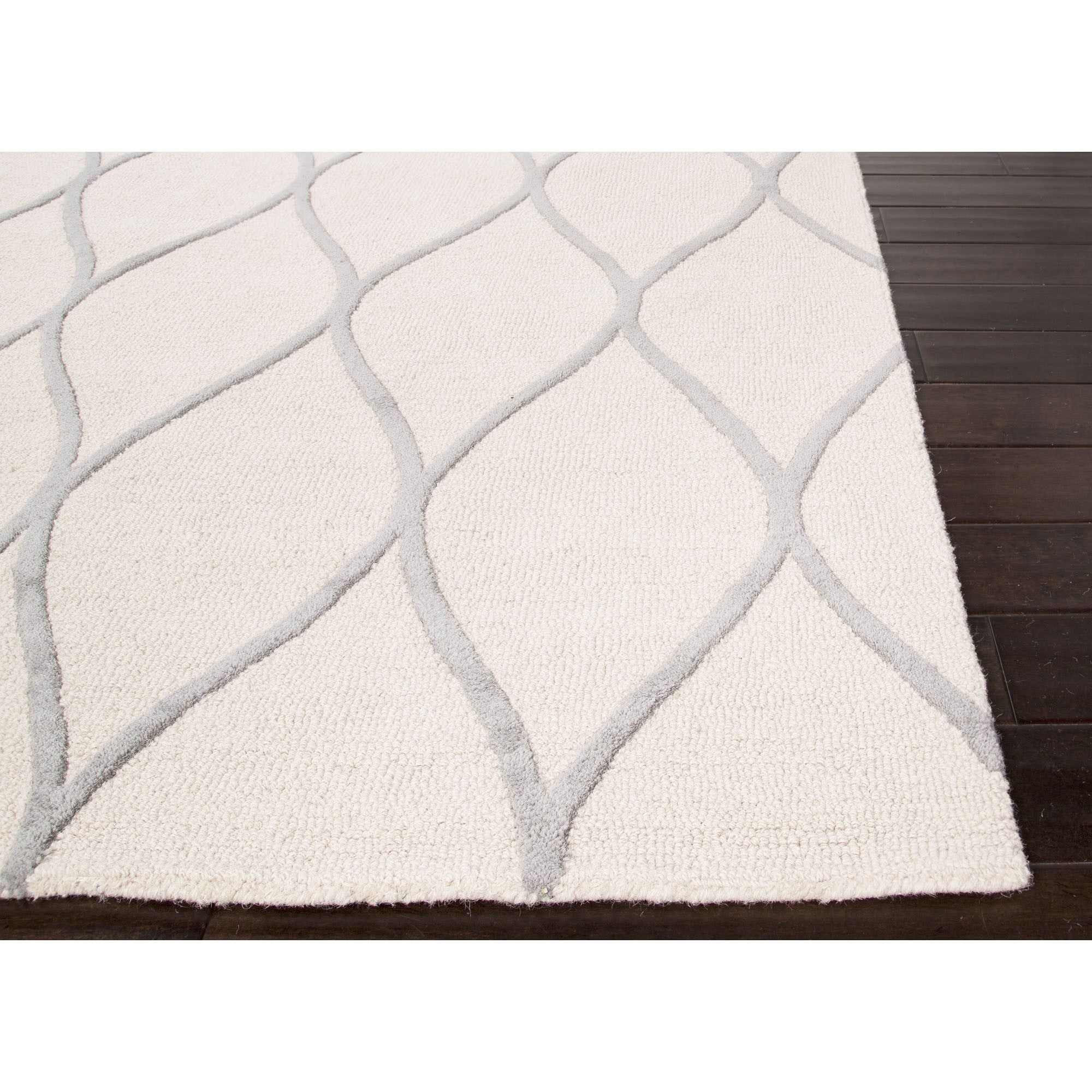 Jaipur rugs modern geometric pattern ivory gray wool area for Contemporary wool area rugs