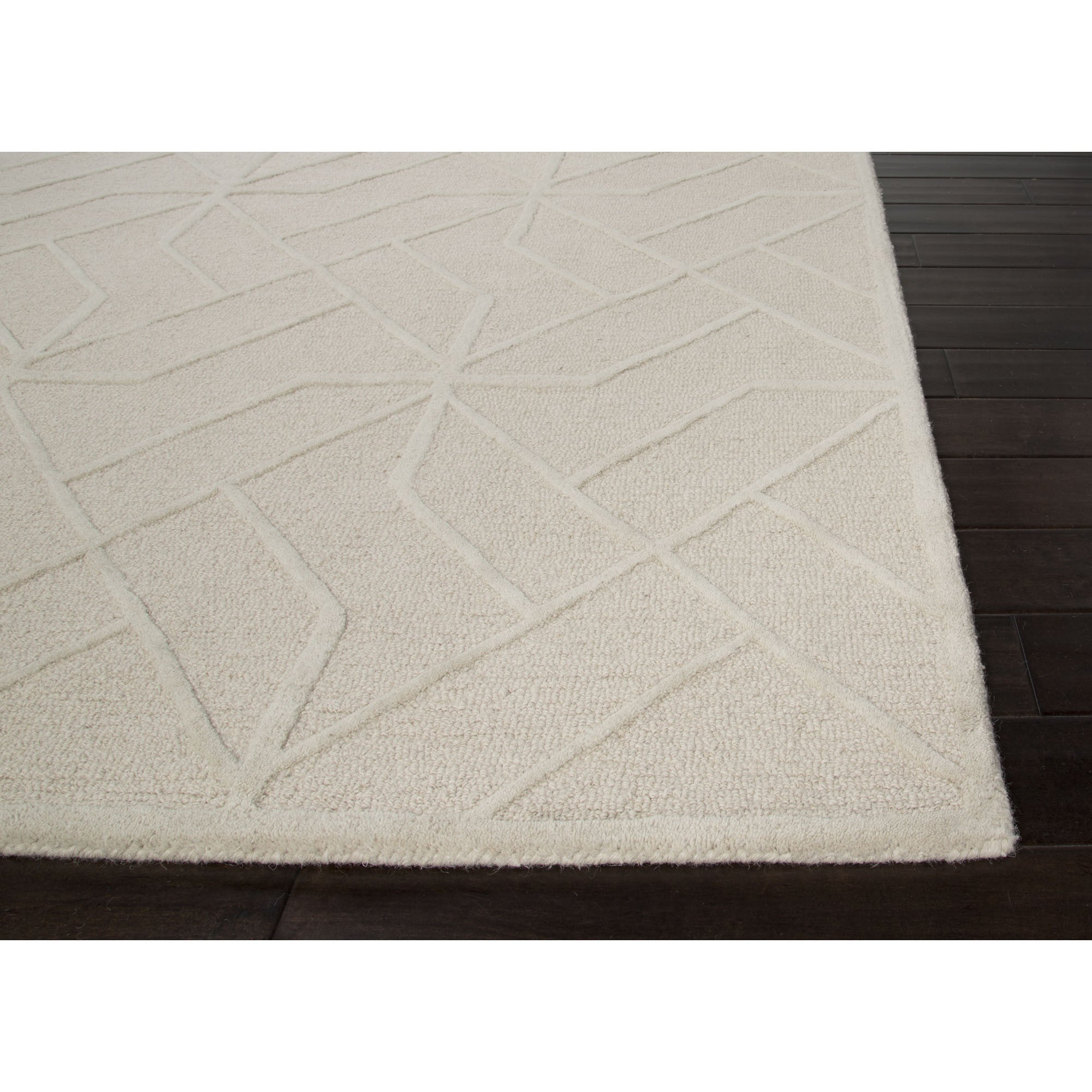 Jaipur rugs modern geometric pattern ivory white wool area for Modern wool area rugs