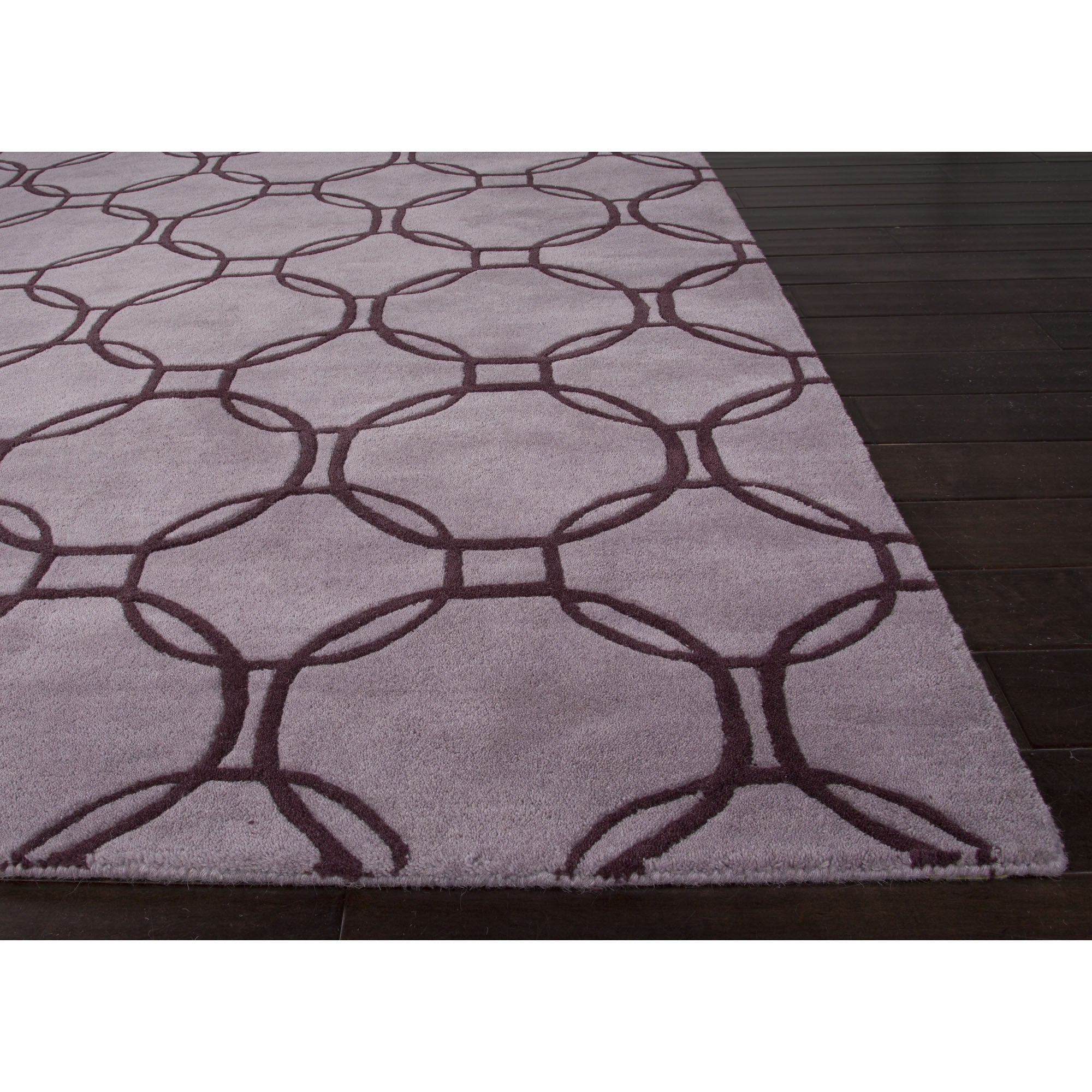 Jaipur rugs modern geometric pattern purple taupe wool for Modern wool area rugs