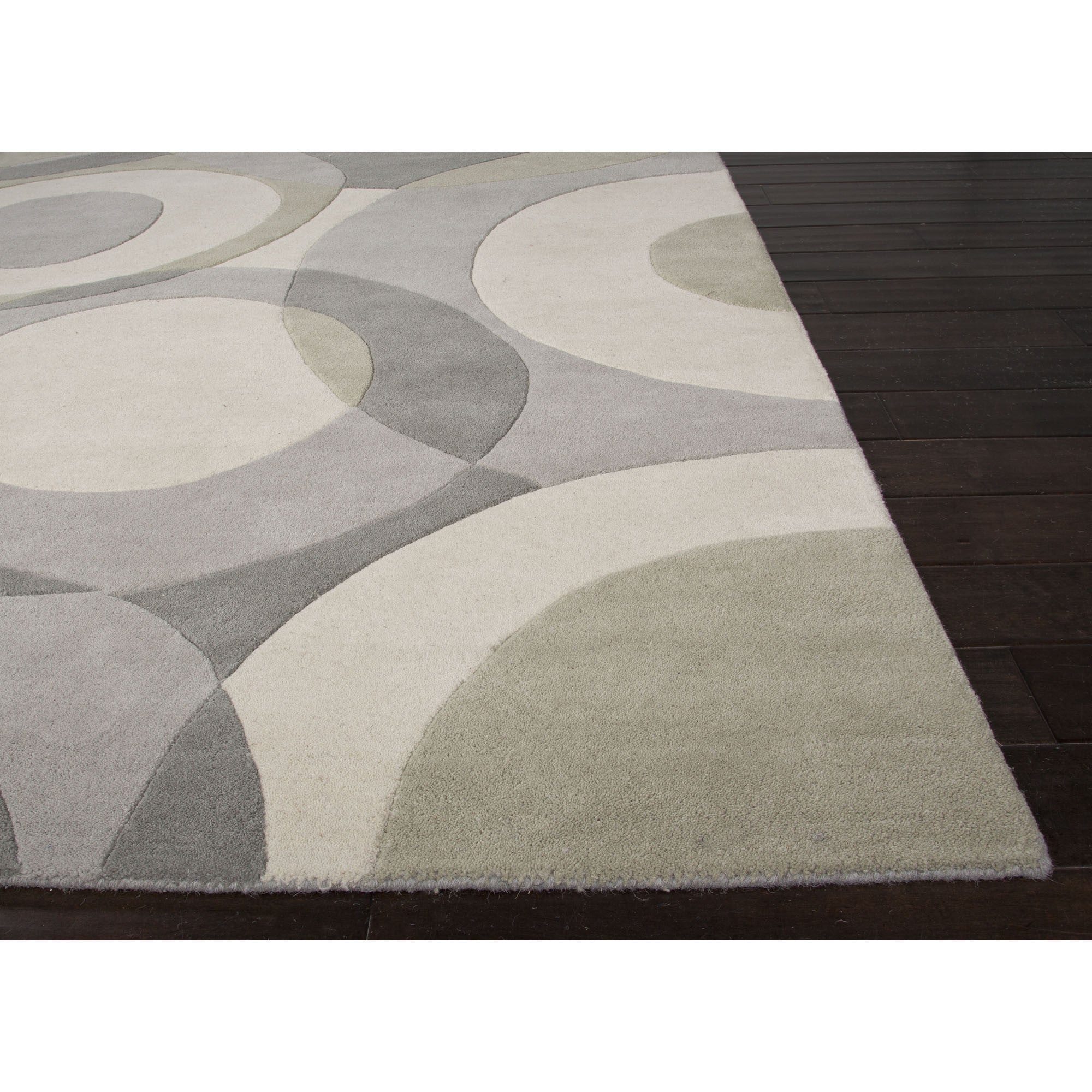 Jaipur rugs modern geometric pattern gray ivory wool area for Contemporary wool area rugs