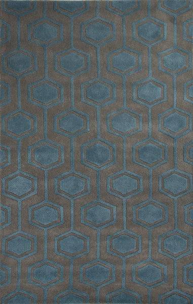 Jaipur Rugs Modern Geometric Pattern Gray Blue Wool Area