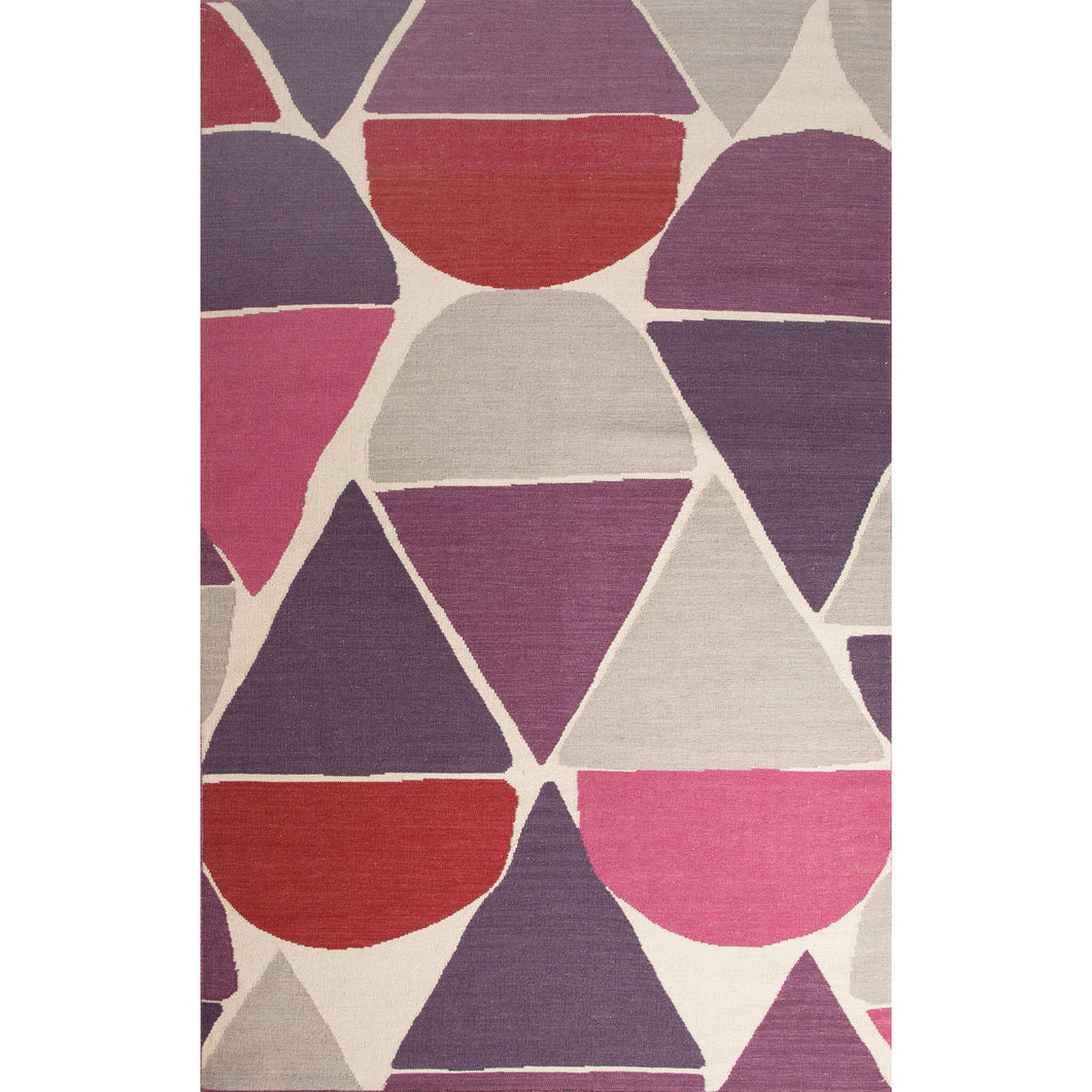 Jaipur Rugs Flat-Weave Geometric Pattern Red/Purple Wool Area Rug