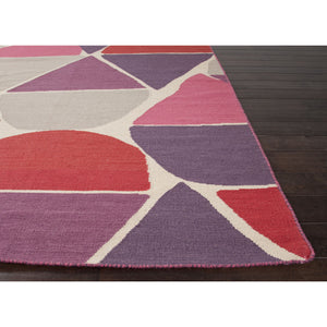 Jaipur Rugs FlatWeave Geometric Pattern Red/Purple Wool Area Rug LSF02 (Rectangle)