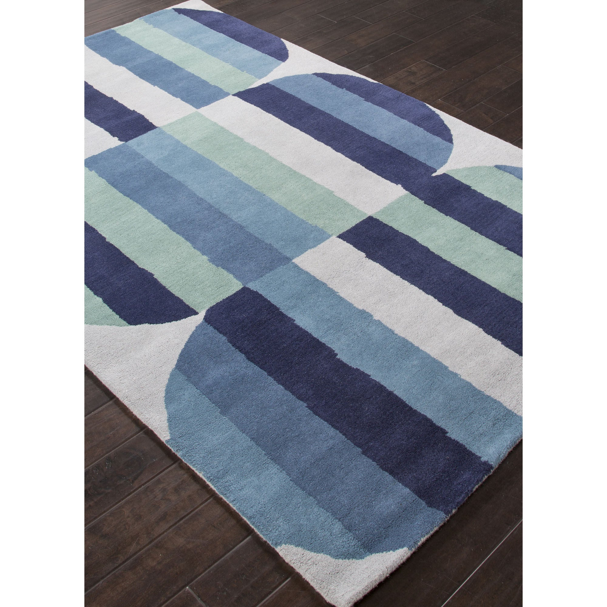Jaipur Rugs Modern Geometric Pattern Blue Green Wool Area