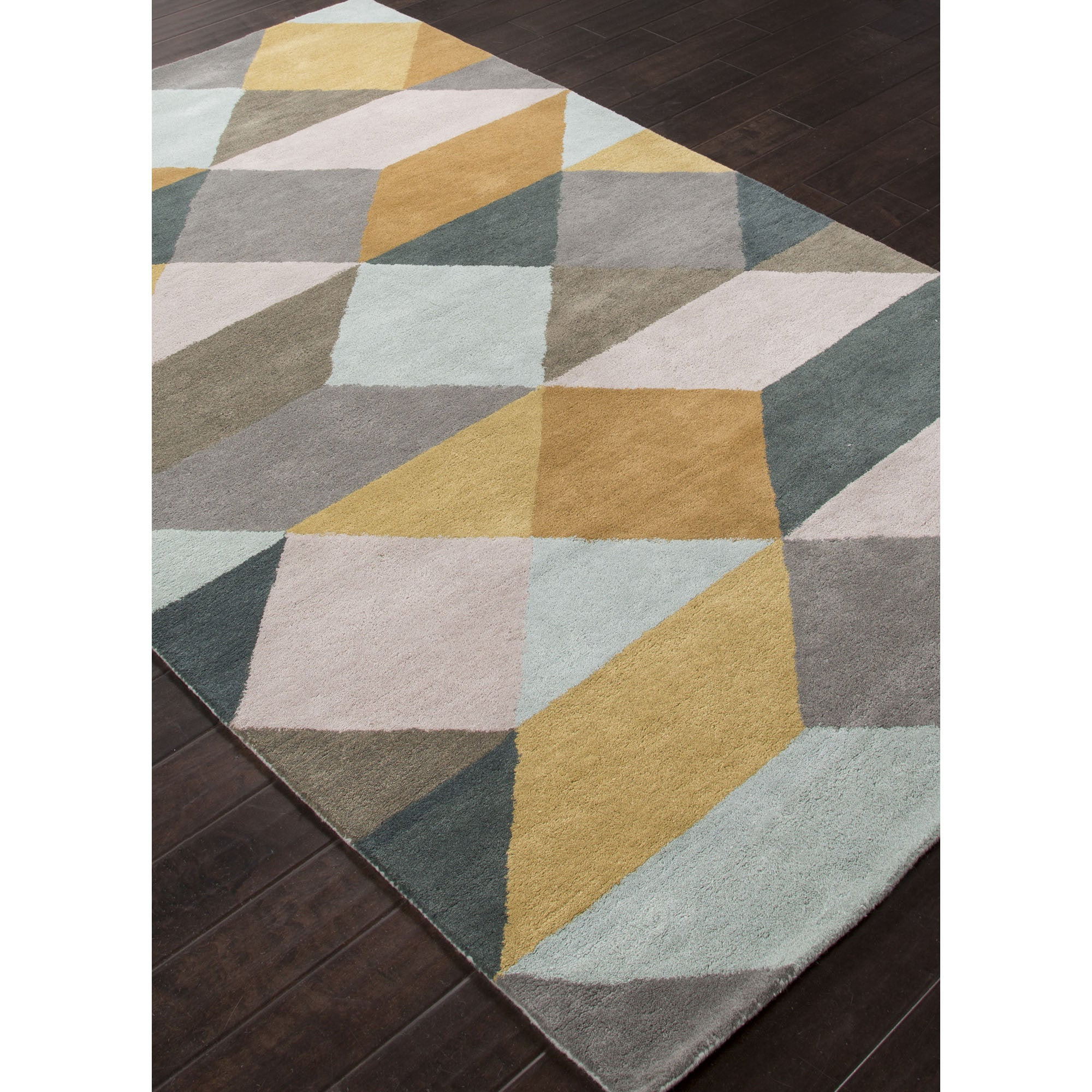 Jaipur Rugs Modern Geometric Pattern Yellow Gray Wool Area
