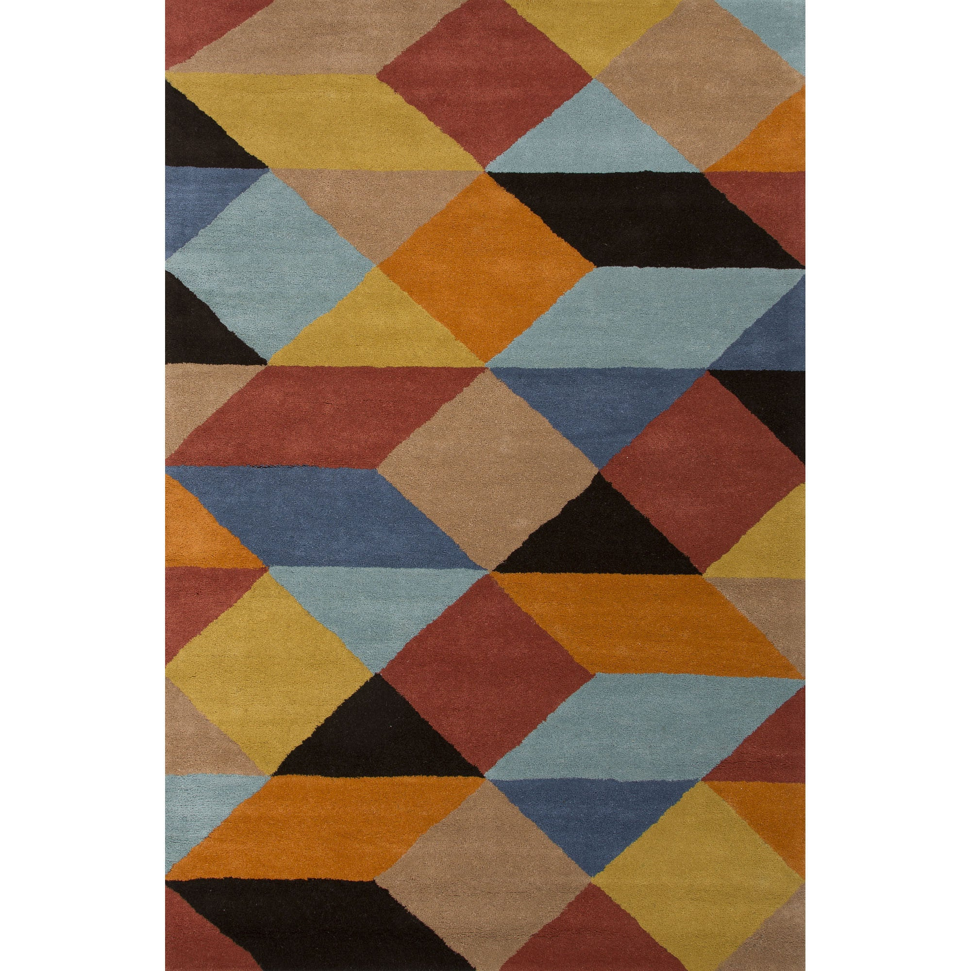 Jaipur rugs modern geometric pattern multi yellow wool for Modern wool area rugs