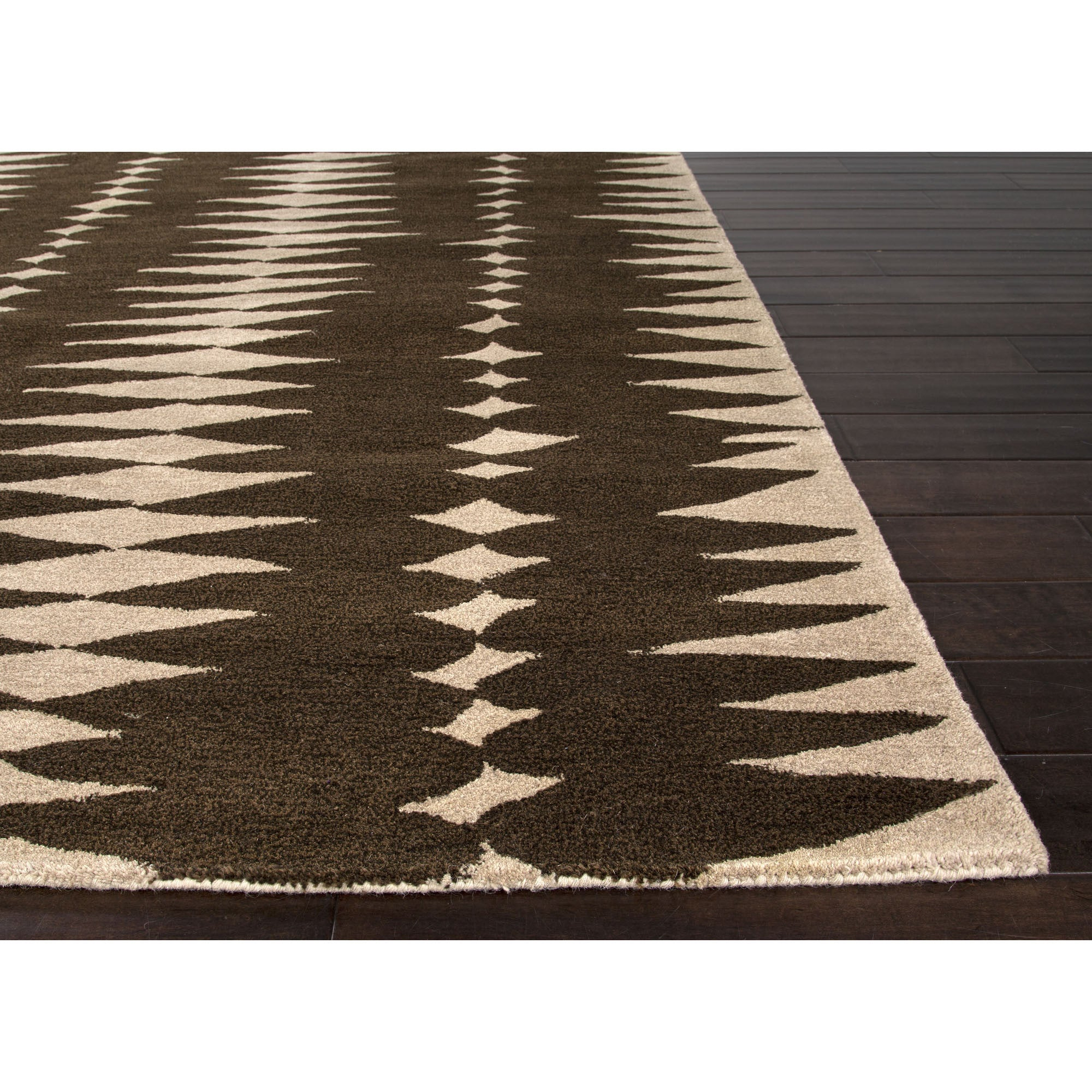 Jaipur rugs modern geometric pattern brown ivory wool area for Modern wool area rugs