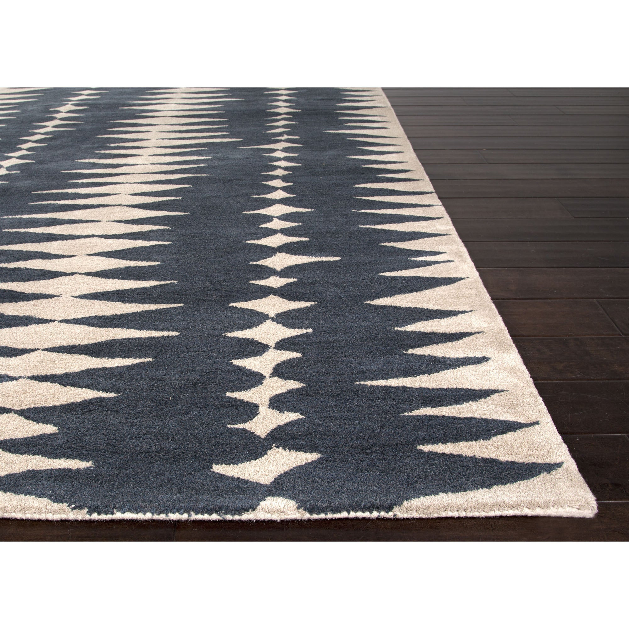 Jaipur rugs modern geometric pattern blue ivory wool area for Modern wool area rugs