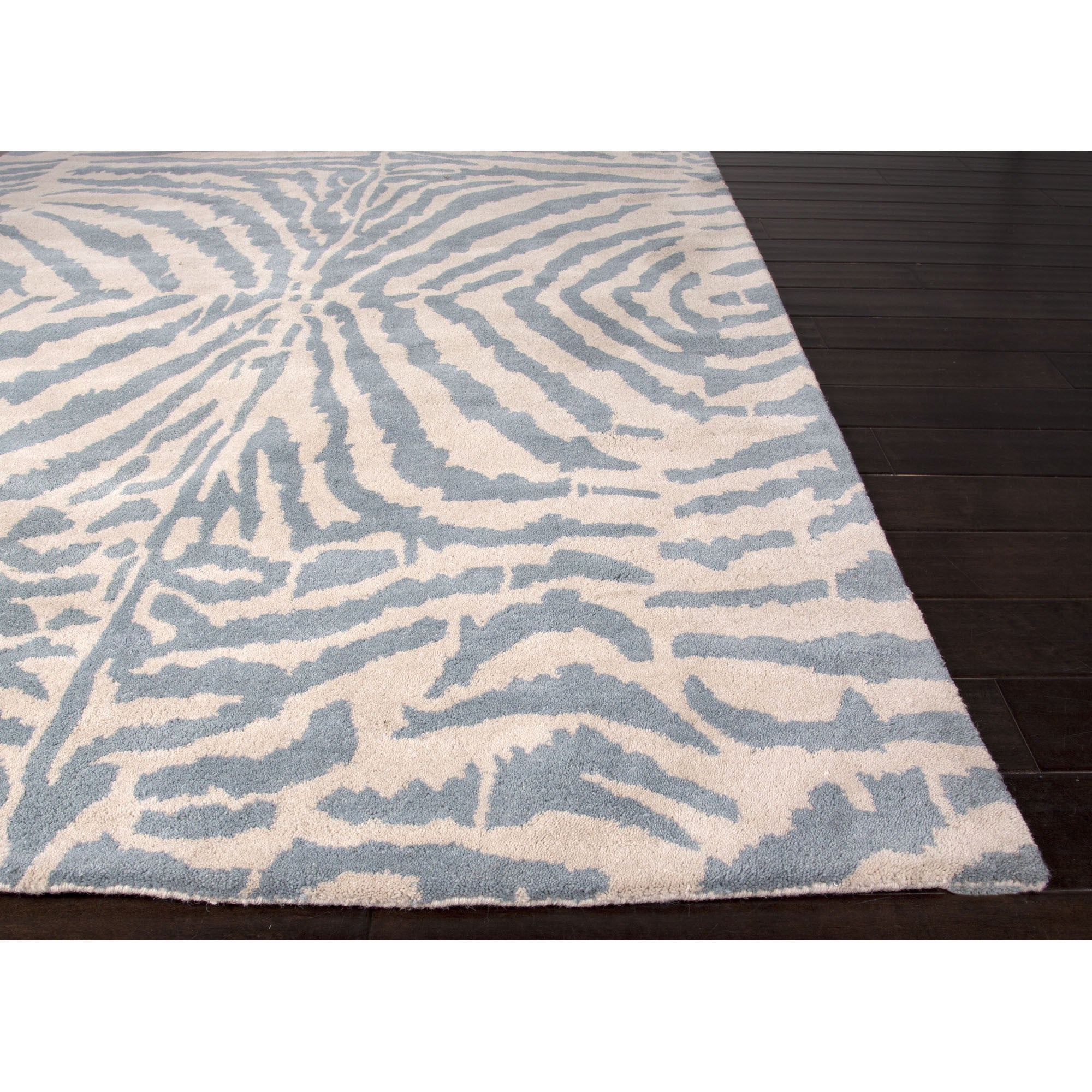 Jaipur rugs modern animal print pattern blue ivory wool for Modern wool area rugs
