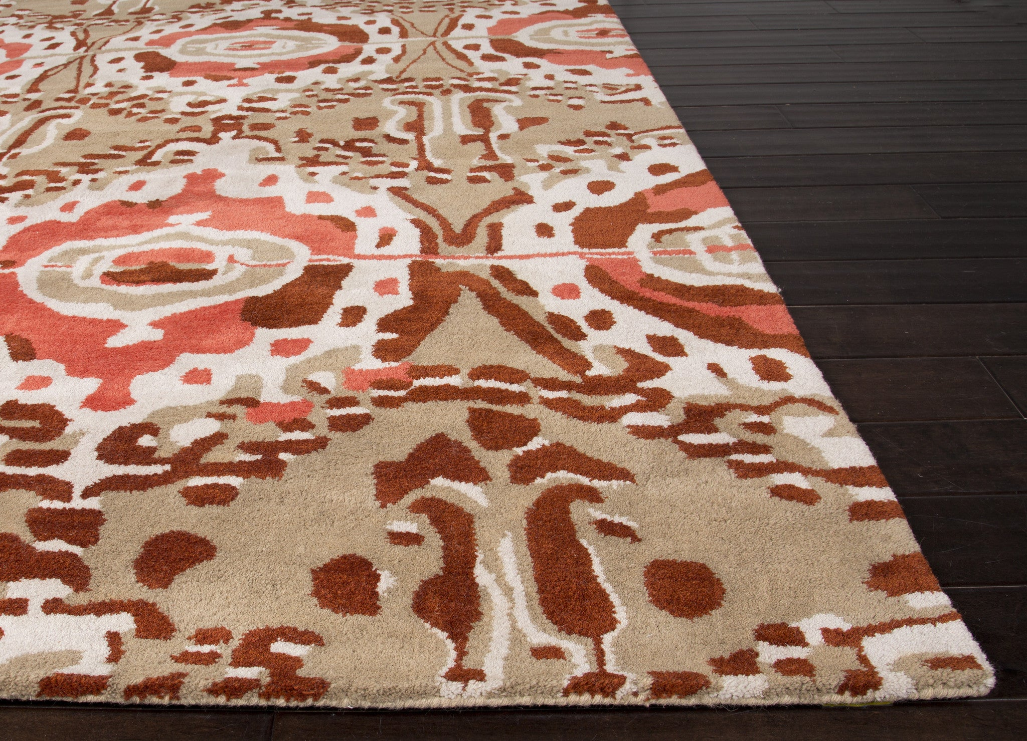 Jaipur rugs modern tribal pattern red taupe wool area rug for Red area rugs contemporary