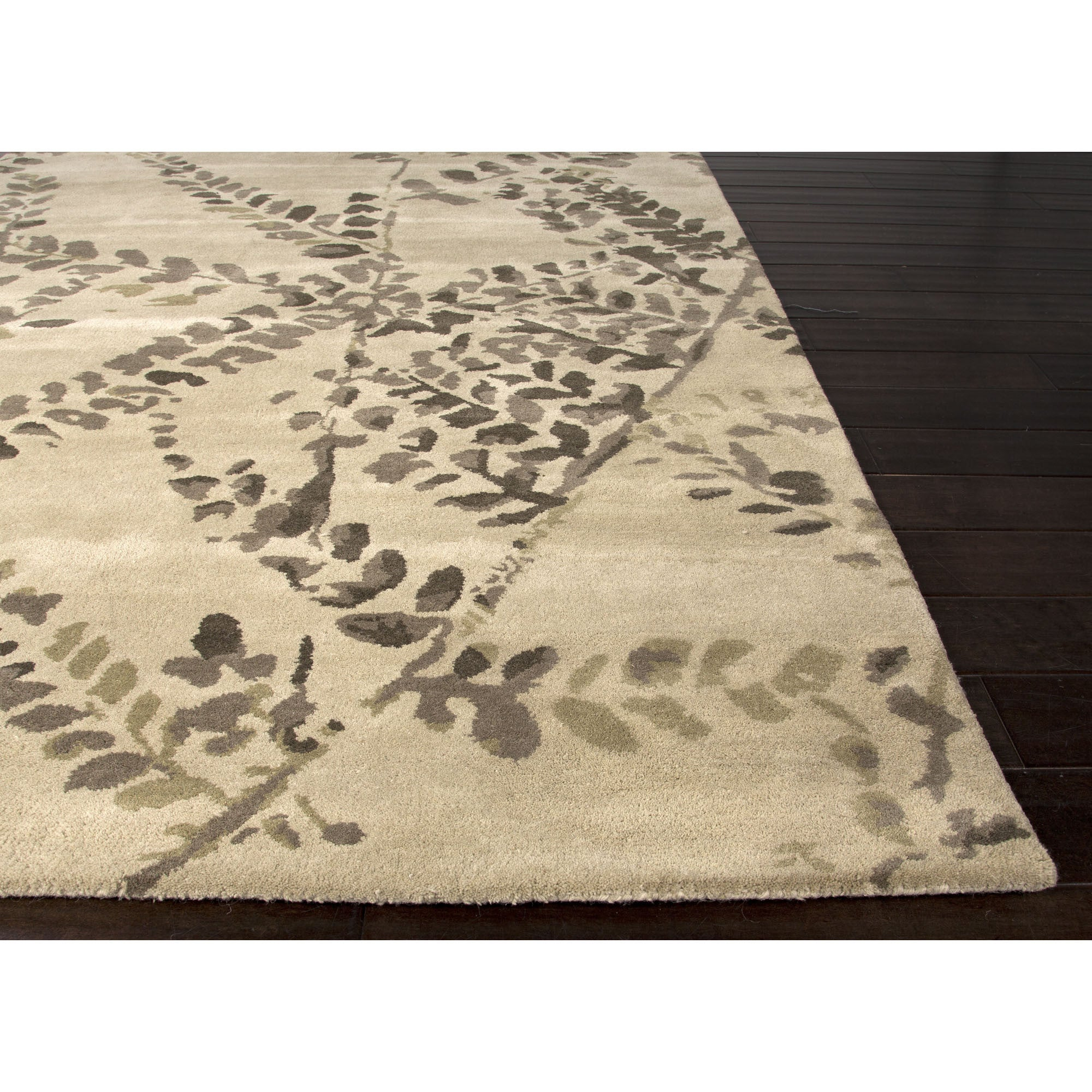 Jaipur rugs modern floral pattern taupe ivory wool area for Modern wool area rugs