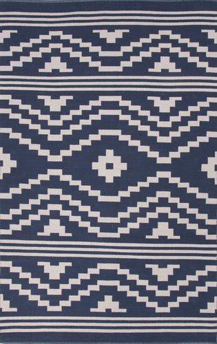 Jaipur Rugs Flat-Weave Tribal Pattern Blue/Ivory Cotton Area Rug