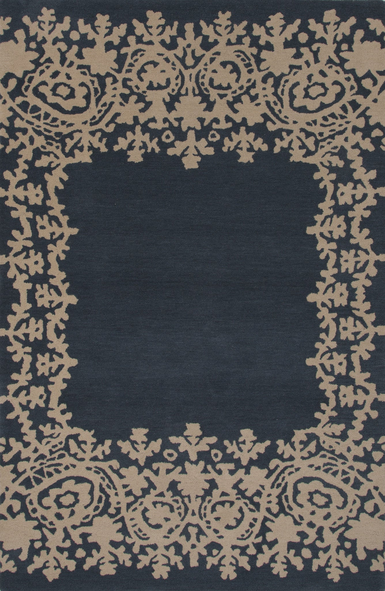 Jaipur rugs modern tribal pattern blue wool area rug mmt02 for Modern wool area rugs