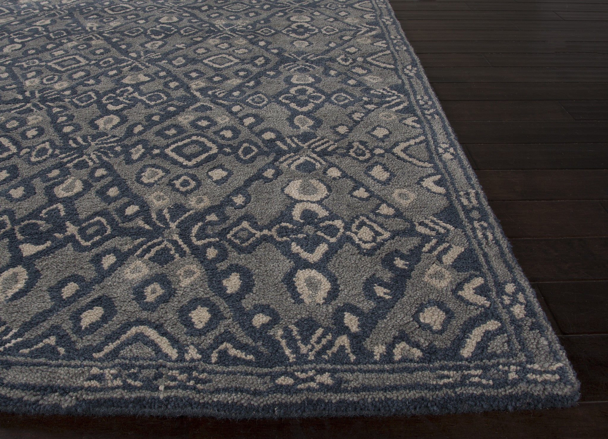 Jaipur rugs modern tribal pattern blue wool area rug mmt08 for Modern wool area rugs