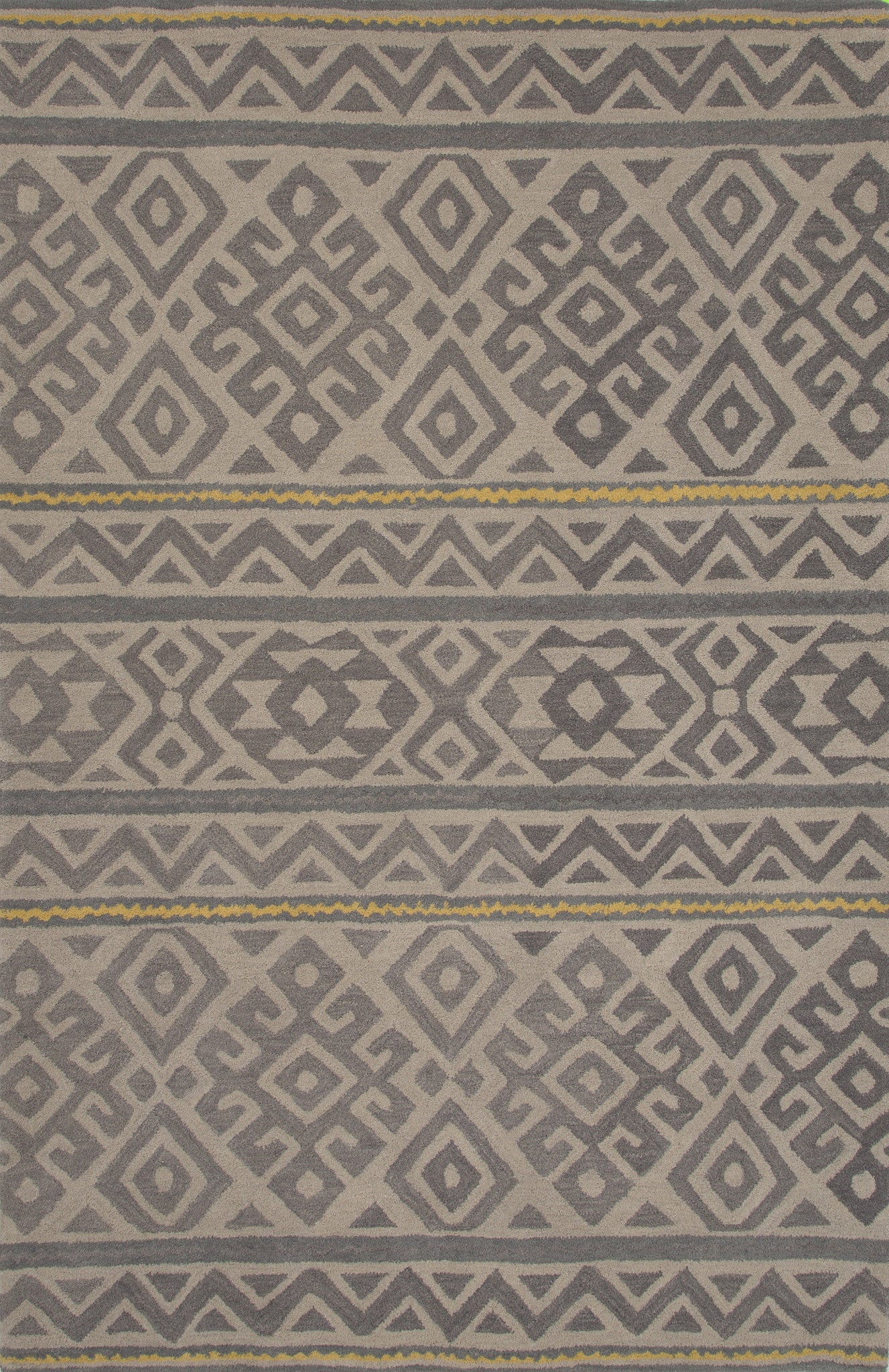 Jaipur rugs modern tribal pattern gray wool area rug mmt14 for Modern wool area rugs