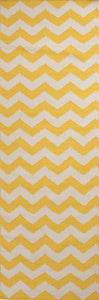 Jaipur Rugs Flat-Weave Geometric Pattern Yellow/Ivory Wool Area Rug