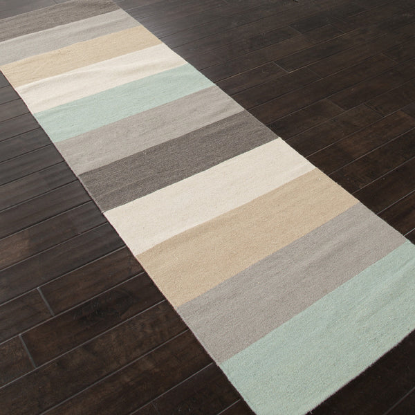 Jaipur Rugs Flatweave Stripe Pattern Gray Blue Wool Area