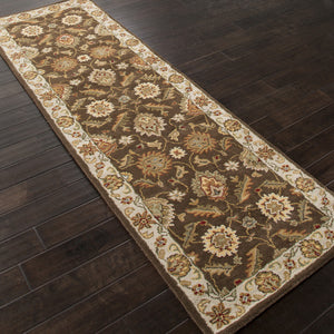 Jaipur Rugs Classic Oriental Pattern Brown/Ivory Wool Area Rug MY01 (Runner)