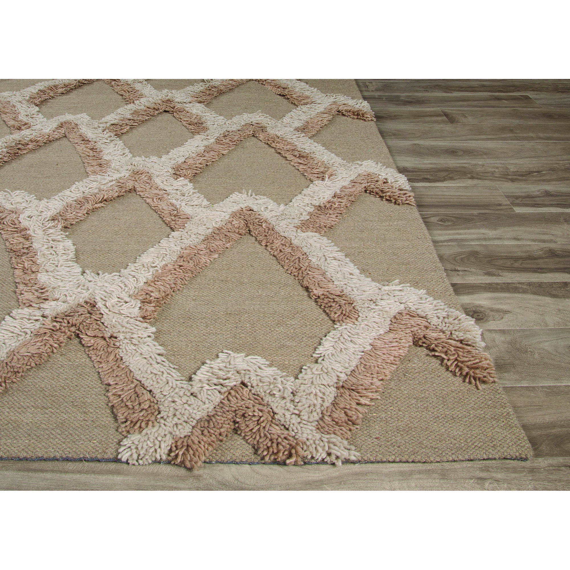 Jaipur rugs modern geometric pattern neutral tan wool area for Modern wool area rugs