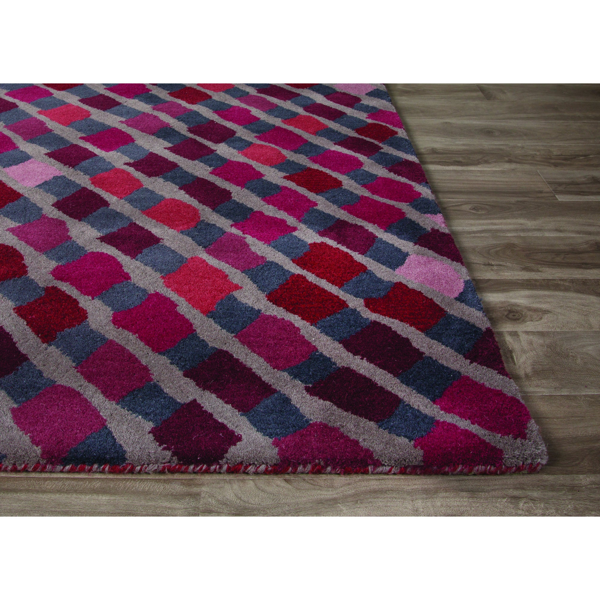 Jaipur rugs modern geometric pattern purple wool area rug for Purple area rugs contemporary
