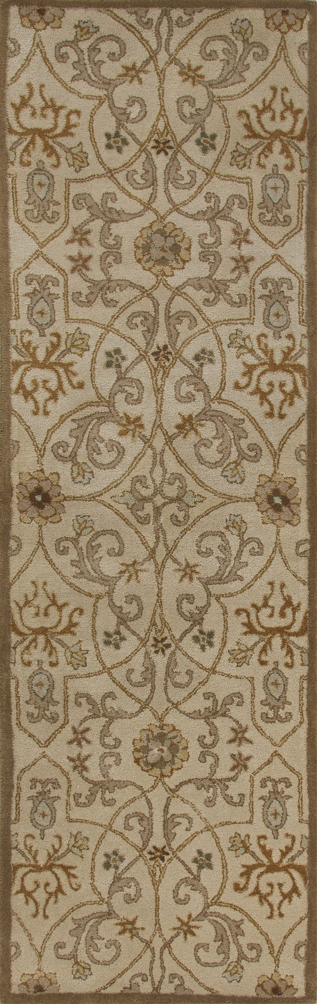 Jaipur Rugs Transitional European Pattern Taupe/Orange Wool Area Rug