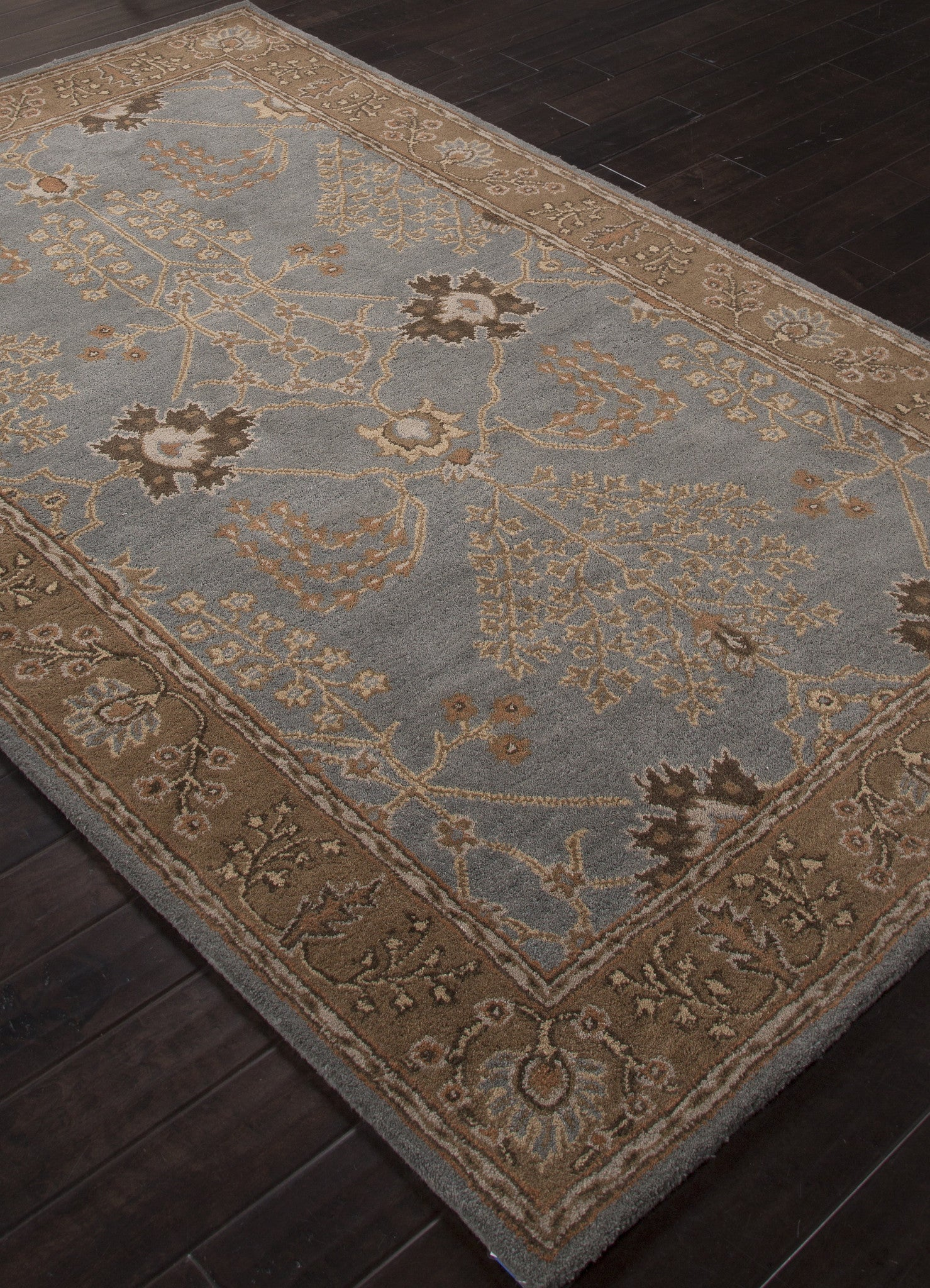 Brown And Blue Patterned Bathroom Rugs: Jaipur Rugs Transitional Arts And Crafts Pattern Blue
