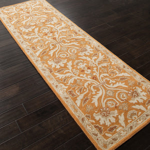 Jaipur Rugs Transitional Oriental Pattern Orange/Ivory Wool Area Rug PM33 (Runner)