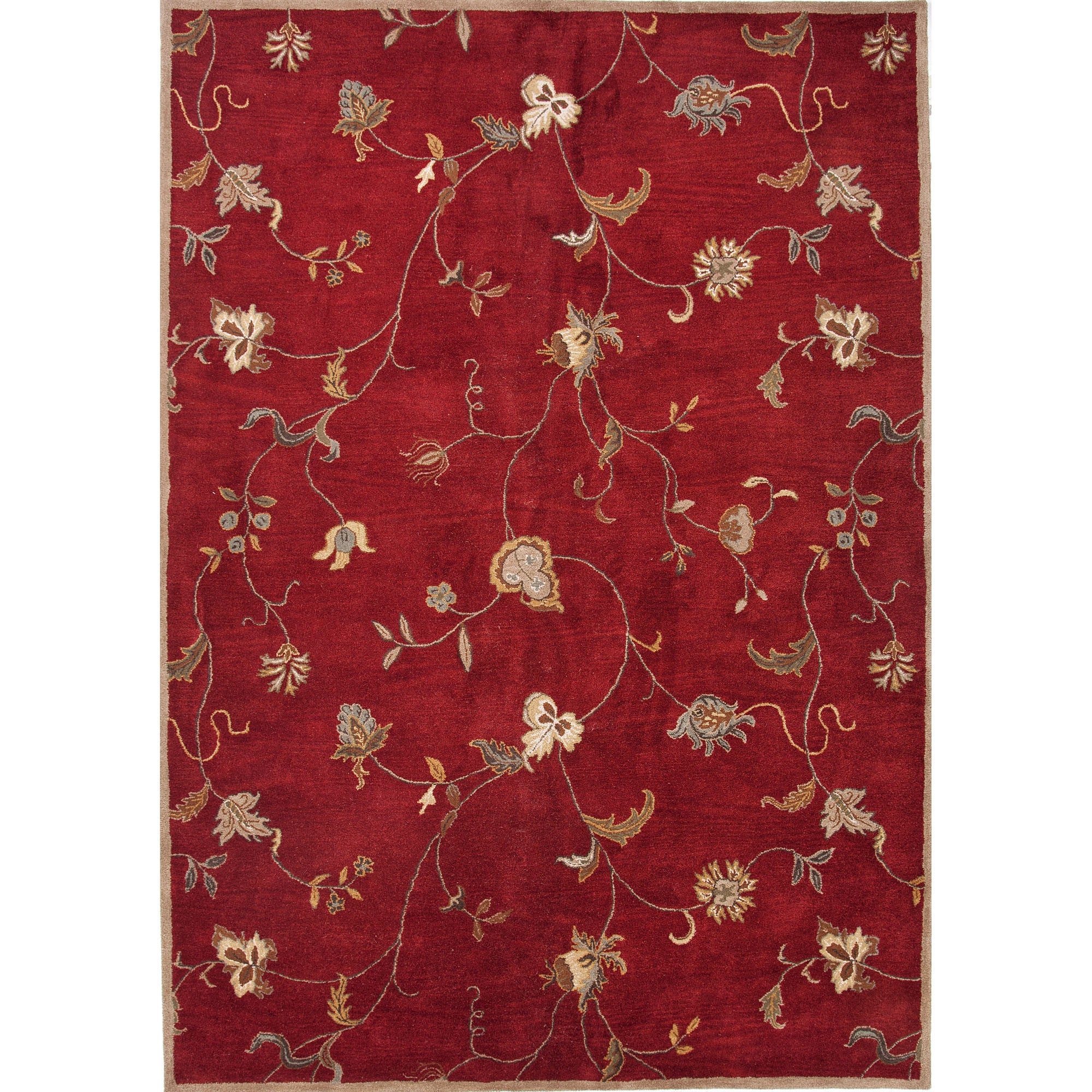 Jaipur rugs transitional floral pattern red ivory wool for Red floral area rug