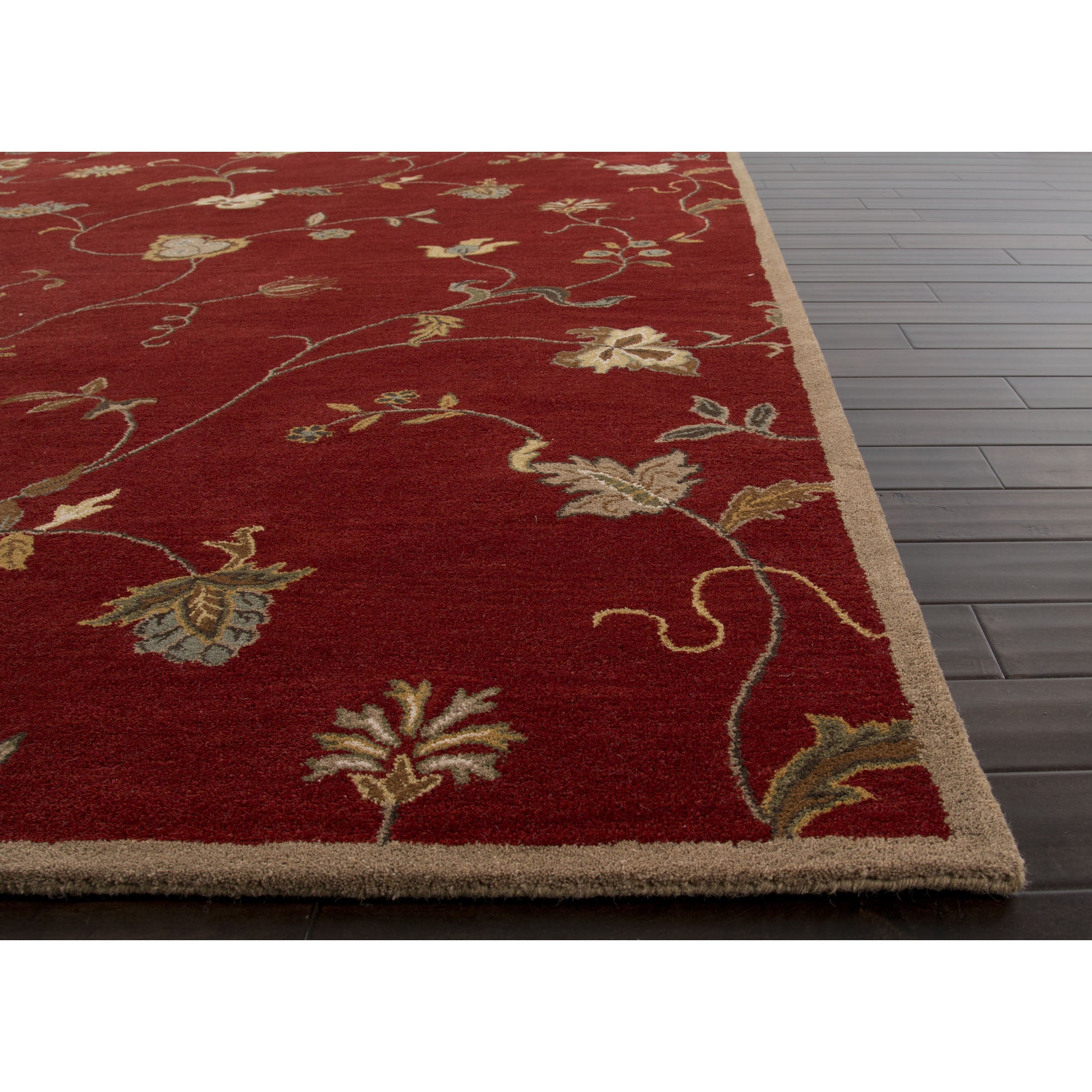 Jaipur Rugs Transitional Floral Pattern Red Ivory Wool