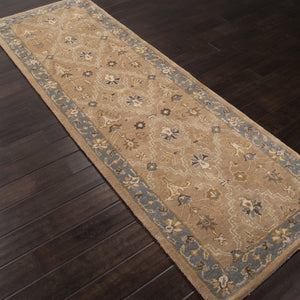 Jaipur Rugs Classic Oriental Pattern Taupe/Blue Wool Area Rug PM54 (Runner)