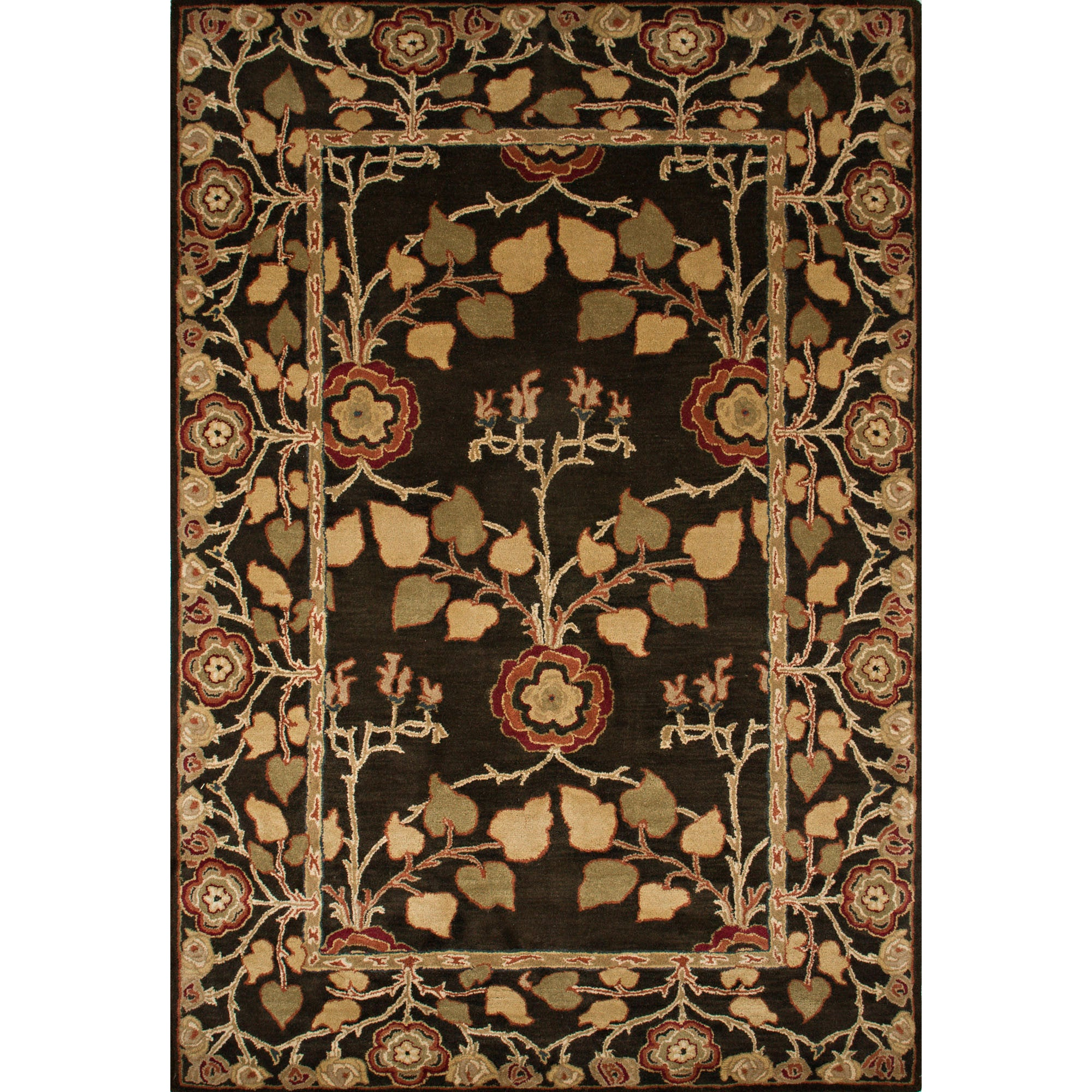 Jaipur Rugs Classic Arts And Crafts Pattern Brown Yellow Wool Area Rug Pm58 Rectangle