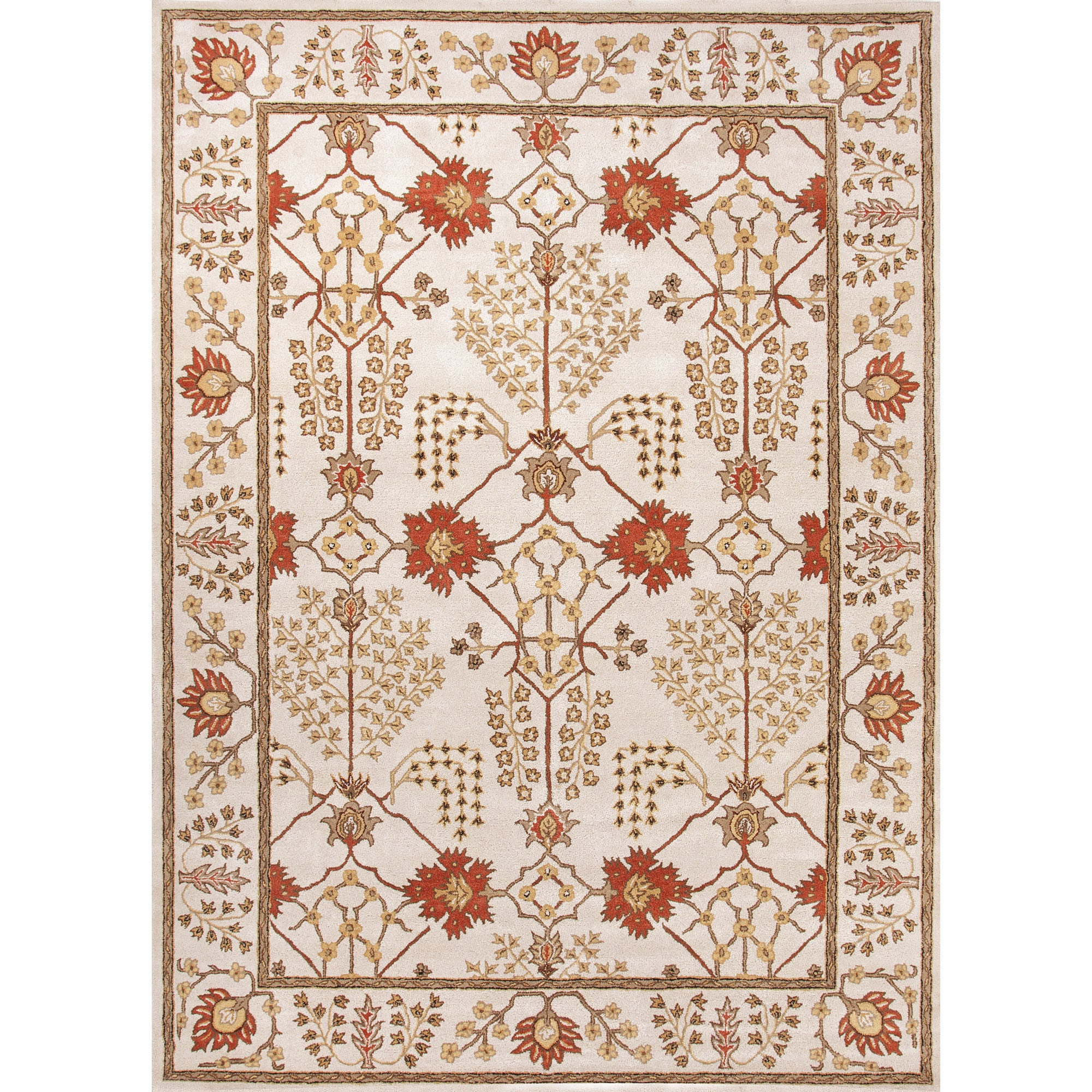 Jaipur Rugs Classic Arts And Crafts Pattern Ivory/Red Wool Area Rug PM72  (Rectangle)