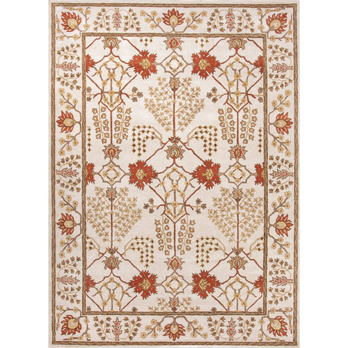 Jaipur Rugs Classic Arts And Crafts Pattern Ivory/Red Wool Area Rug