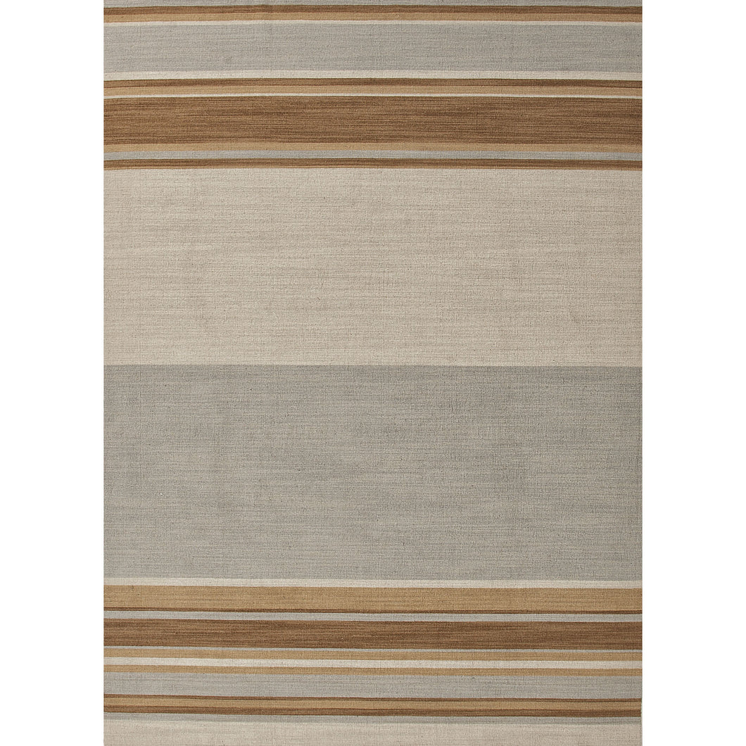Jaipur Rugs Flat-Weave Stripe Pattern Blue/Brown Wool Area Rug