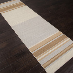 Jaipur Rugs FlatWeave Stripe Pattern Blue/Brown Wool Area Rug PV05 (Runner)