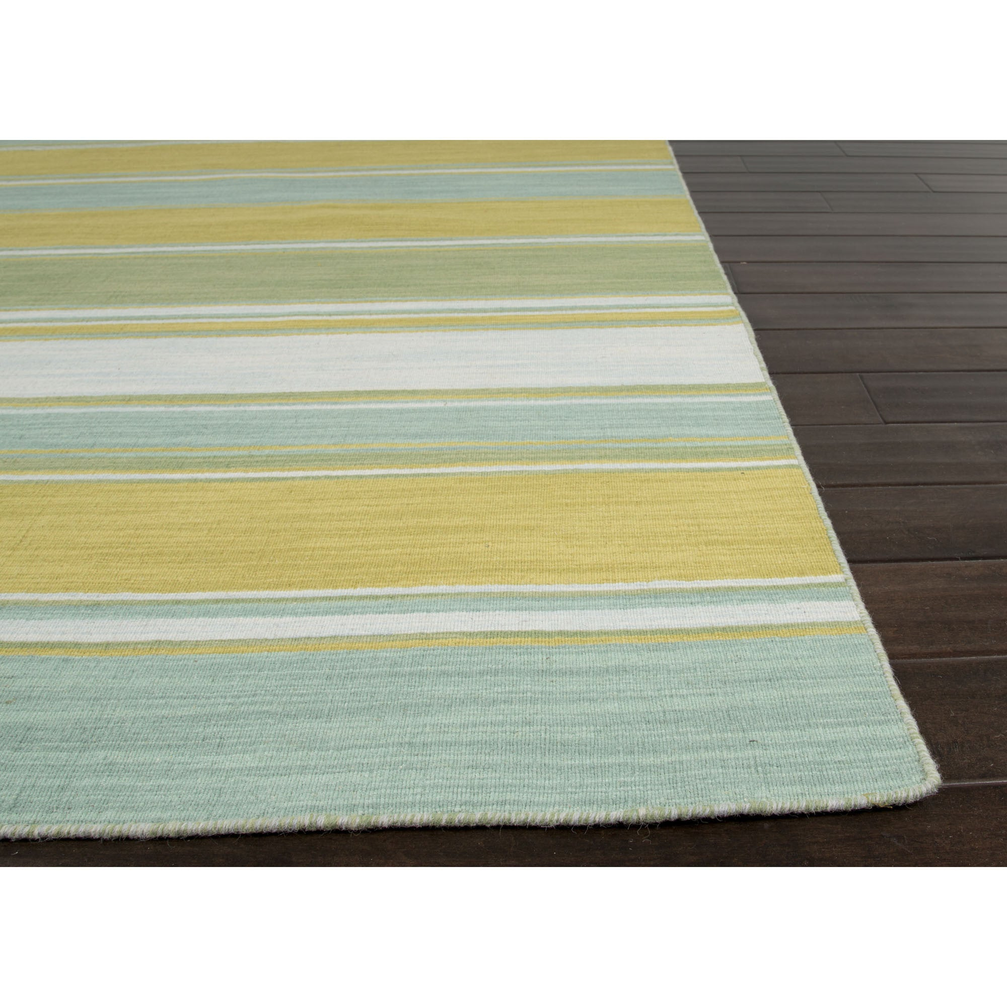 Jaipur Rugs Flatweave Stripe Pattern Blue Green Wool Area