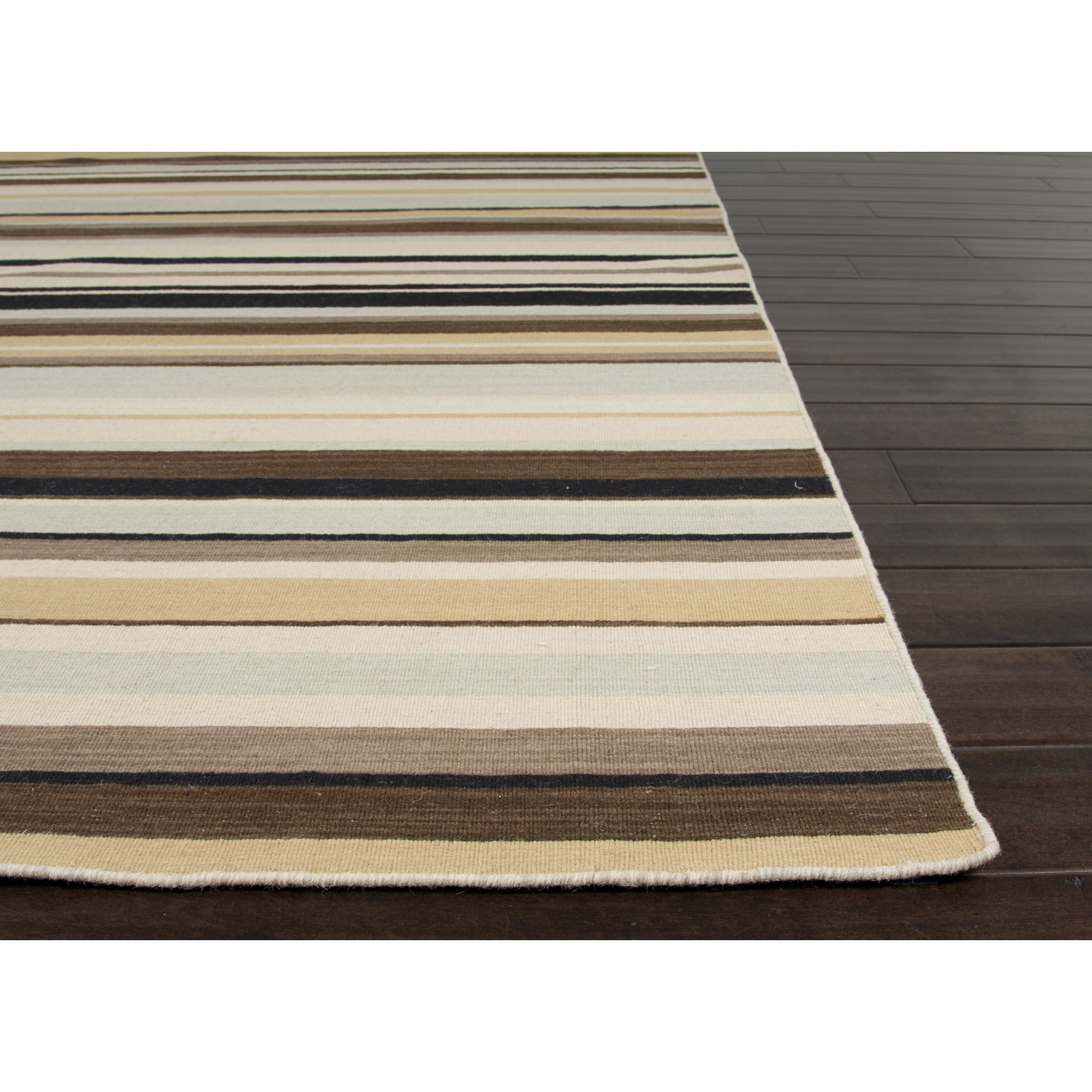Jaipur Rugs Flatweave Stripe Pattern Ivory Brown Wool Area