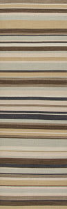 Jaipur Rugs Flat-Weave Stripe Pattern Ivory/Brown Wool Area Rug