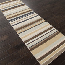 Load image into Gallery viewer, Jaipur Rugs FlatWeave Stripe Pattern Ivory/Brown Wool Area Rug PV10 (Runner)