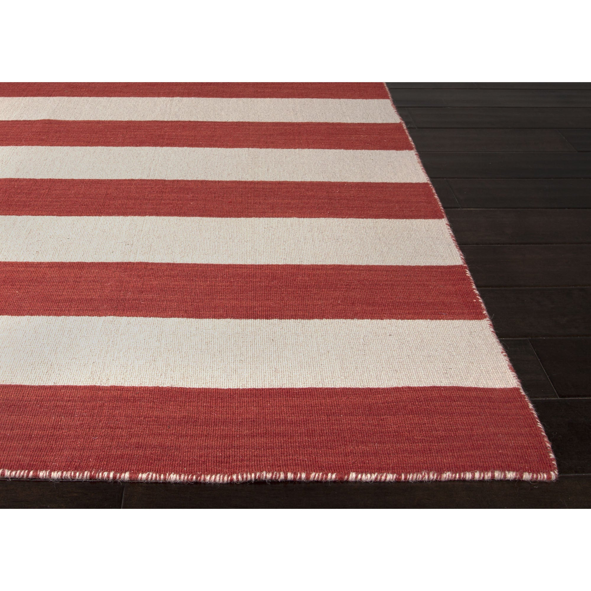Jaipur rugs flatweave stripe pattern red ivory wool area for Red and white striped area rug