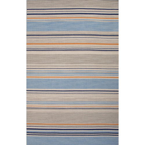 Jaipur Rugs Flat-Weave Stripe Pattern Blue/Orange Wool Area Rug
