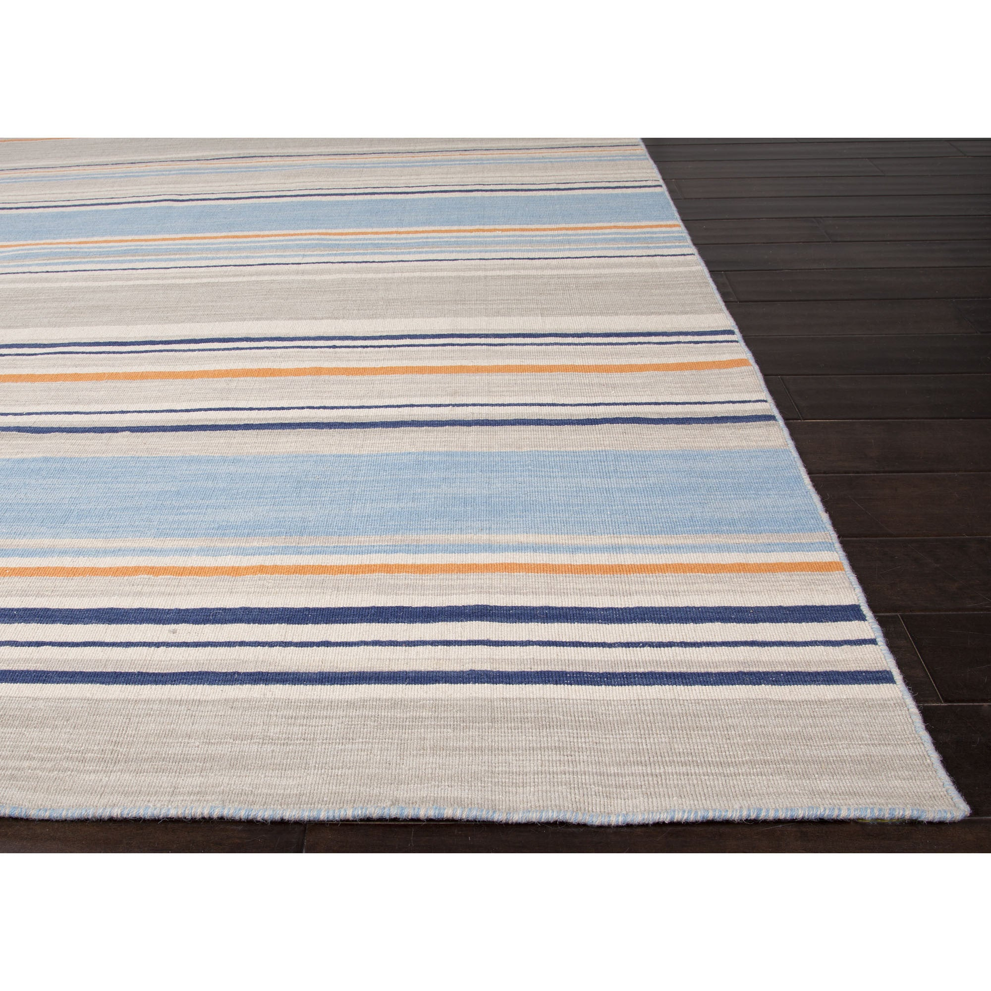 Jaipur Rugs Flatweave Stripe Pattern Blue Orange Wool Area
