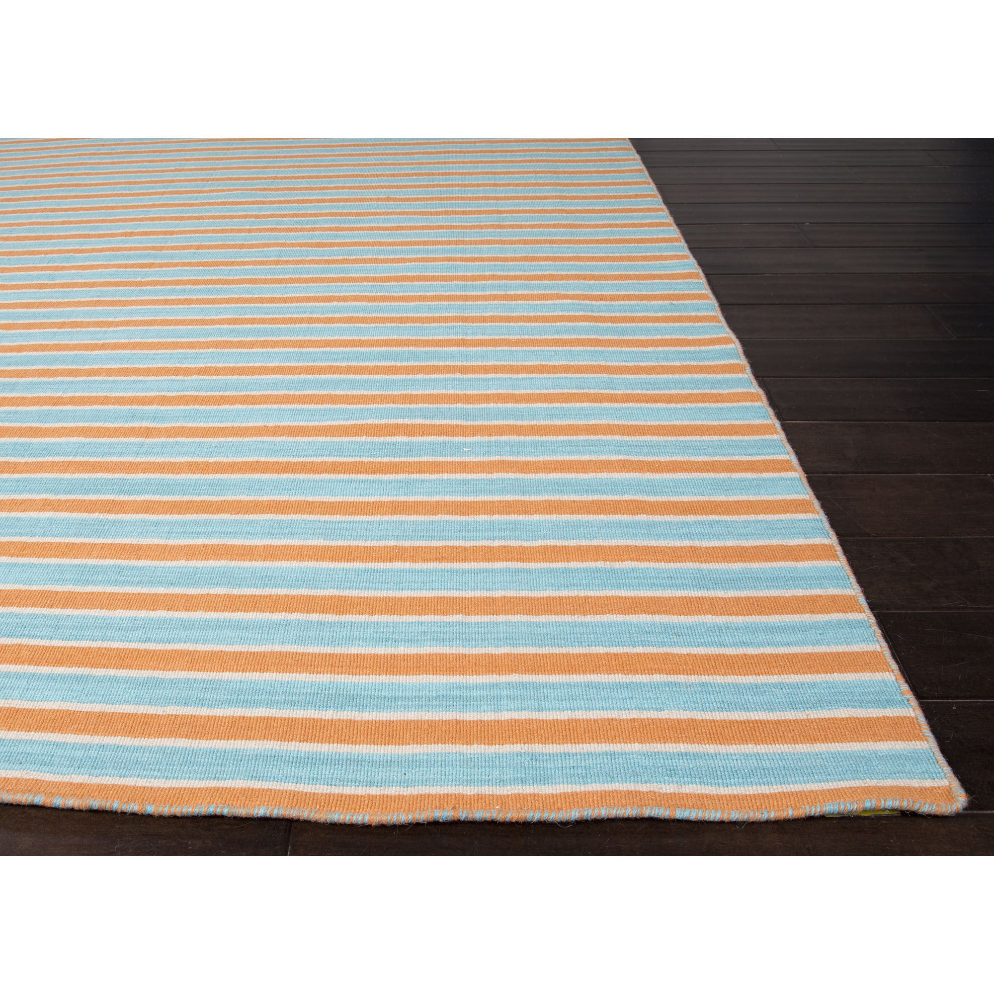 jaipur rugs flatweave stripe pattern orange blue wool area rug pv66 r rugmethod. Black Bedroom Furniture Sets. Home Design Ideas