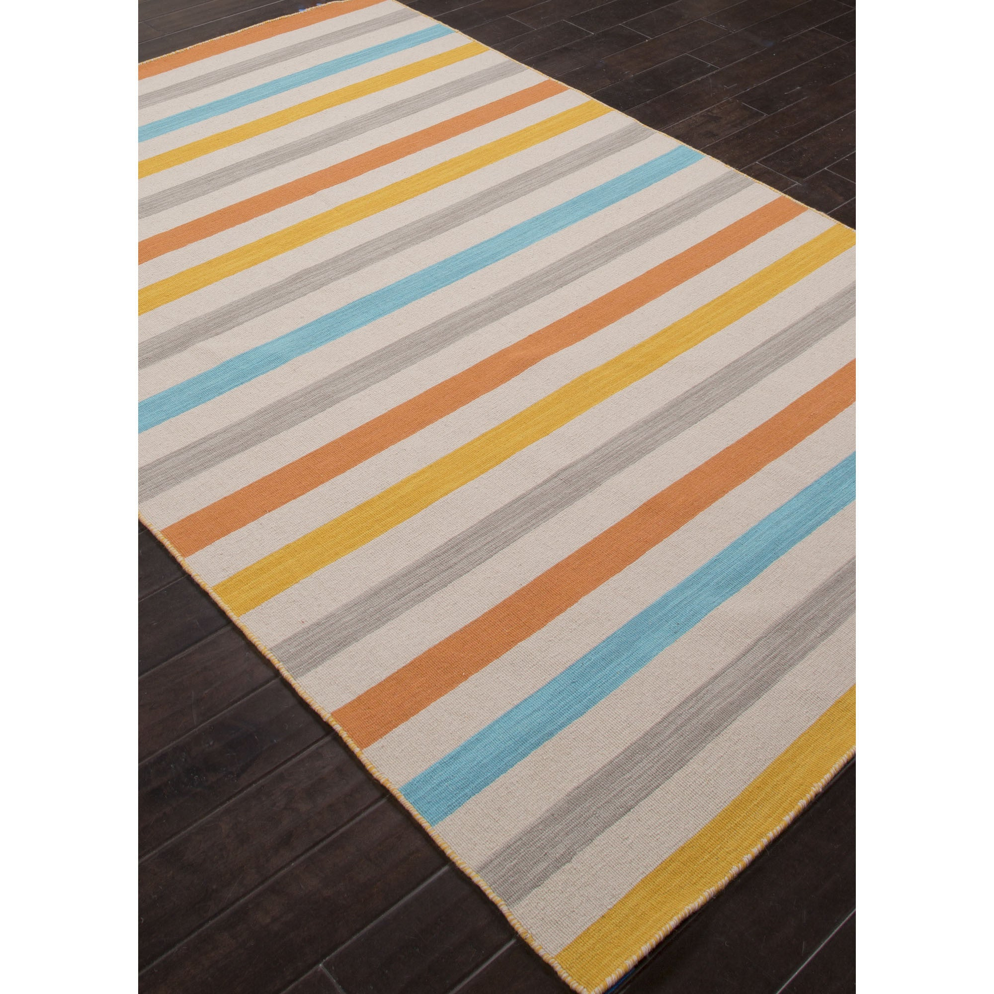 Jaipur Rugs Flatweave Stripe Pattern Yellow Blue Wool Area