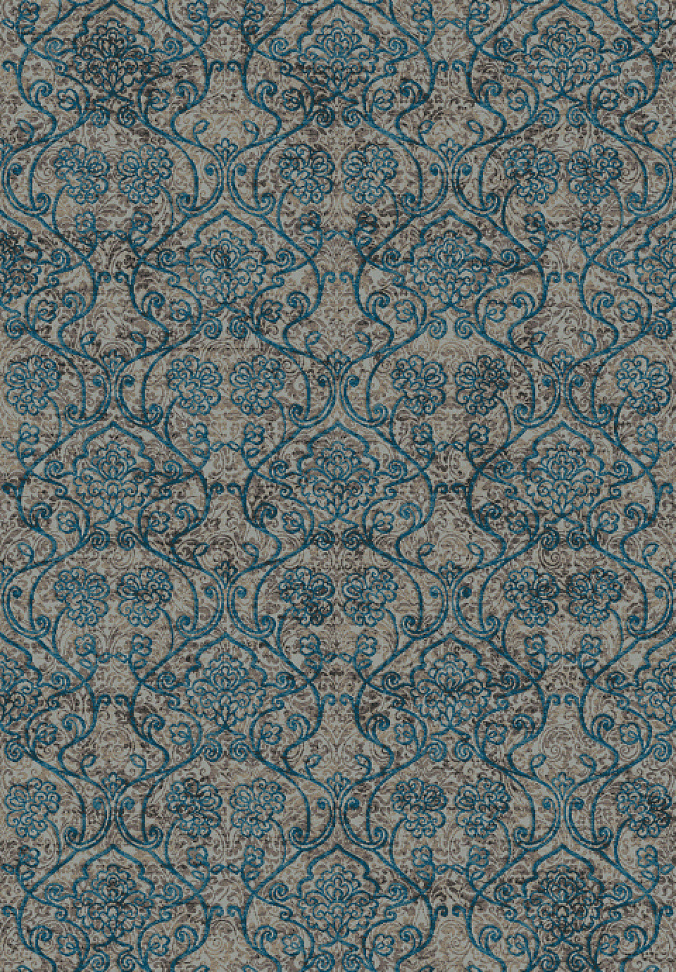 Dynamic Rugs Regal Blue Taupe Medallion Damask Rectangle
